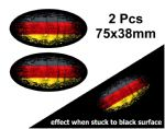 2pcs Fade To Black OVAL Design & Germany German Flag Vinyl Car sticker decal 75x38mm